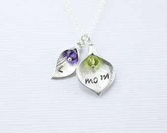Mom necklac. Personalized  silver Calla lily necklac. Customize initial and birthstone. gift to mother.
