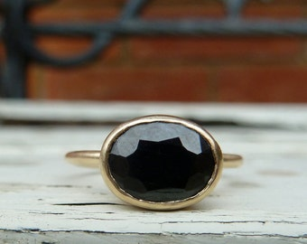 Black sapphire ring, black sapphire gold ring, black engagement ring
