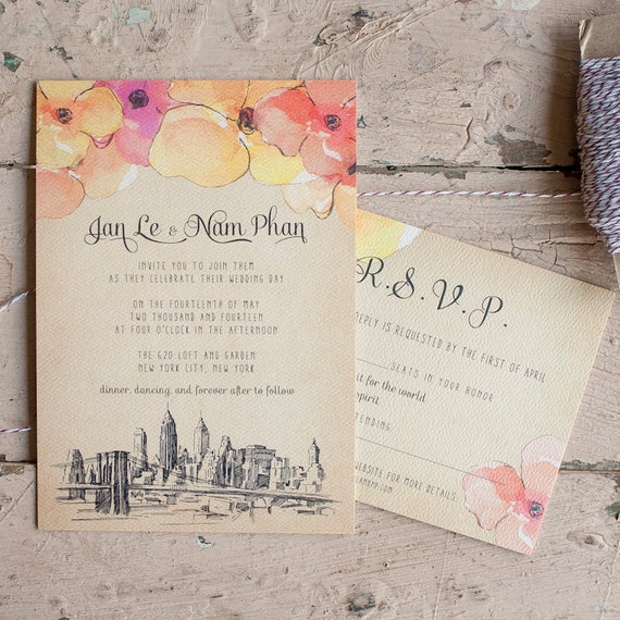 Rustic Wedding Invitation, Vintage wedding Invitation - The NYC - shabby chic, vintage, floral, watercolor, invitation suite, skyline, city
