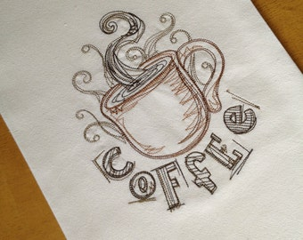 Machine Embroidered Flour Sack Towel Kitchen Coffee Cup