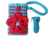 Cell Phone Wristlet & Lip balm cozy Turquoise Red with crocodile stitch flower pin lg motion htc one Phone Pouch Strap lg enact xperia