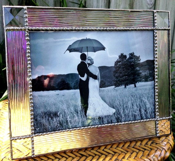 5x7 iridized stained glass picture frame. Black Bedroom Furniture Sets. Home Design Ideas