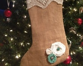 ON SALE! Burlap & Lace Shabby Chic Christmas Stocking With Handmade Flower Accents