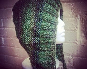 Hand Knit Hat With Braid in Green Blend Hood