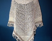 granny crochet women poncho for the summer, 100% cotton, white with shades of beige ,  decorative edge, one size fits all - kleinedromen