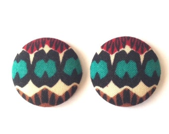 Large Ethnic Style Fabric Covered Button Earring