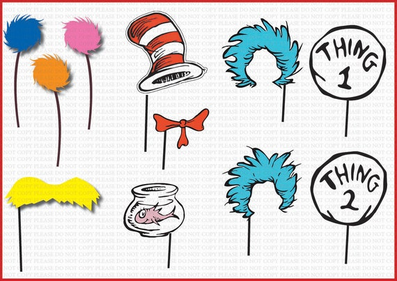 ... DL- Dr seuss Photo Booth Props Set- Printable Birthday party Package