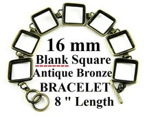 """BOGO Sale 5 Pieces (7) Squares 16mm Antique Bronze Plated Square Tray Blank Bracelets 8"""" inch Bezel DIY Crafts Project Jewelry Findings"""