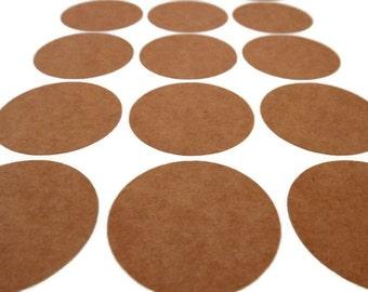 Kraft Round Sticker - Circle Sticker - 1.25 in. Round Label - Kraft Sticker - Baby Shower - Wedding Favor Sticker - 48 count - Envelope Seal