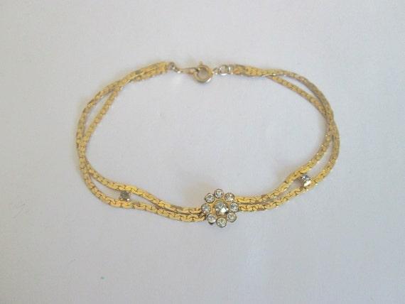 Goldtone Flower Bracelet With Clear Stones