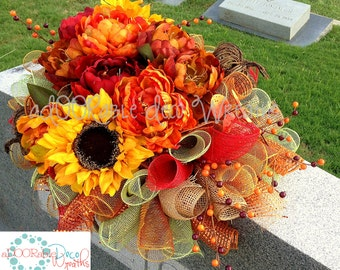 Fall Cemetery Saddle, Fall Cemetery Flowers, Fall Cemetery, Fall Cemetery Arrangements, Fall Headstone Saddle