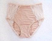 BEAUTIFUL BEIGE. Skin Tone High Panties. Pale Nude Color Cotton Blend with Floral Lace. Unique Bohemian Lingerie