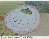Crochet Shell Baby Bib - Baby Shower Gift - Vintage Look -  Ready to Ship from Old Vintage Bike
