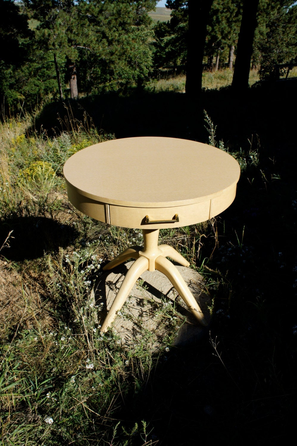 Vintage Round Mersman Blond Drum Table With Drawer Wood End