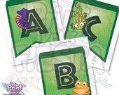 Reptile banner - complete abc, 26 pennants, lizard, chamaleon, crocodile, snake, turtle, frog, create your own message