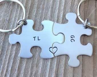 Stainless steel hand stamped  puzzle pieces key chains his and hers  best friends jewelry