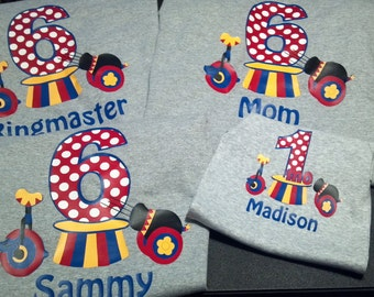 Circus Theme Birthday Family T-shirt