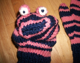 Knitted Pink and Navy Monster Mittens