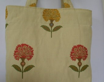 Thistle Tote Bag with red and yellow flowers