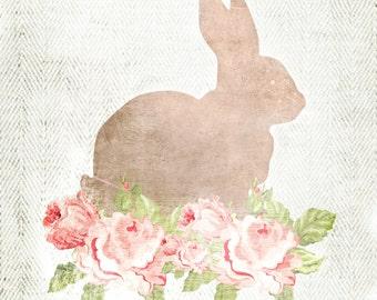 Herringbone Rabbit Silhouette Print - Vintage Floral