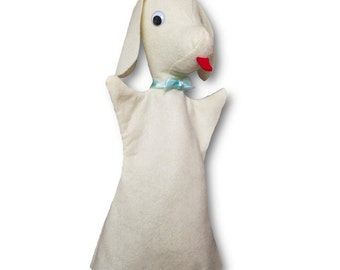 Hand Puppet for children Cute Felt Dog Puppet pet - handmade puppet for theatre - white - Winston the Dog