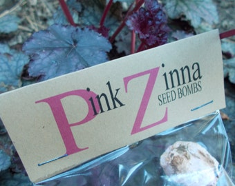 Pink Zinnia Seed Bombs, Summer wildflower seed bomb, plantable paper seeds