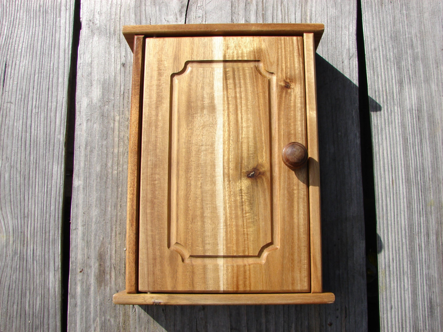 Wooden Wall Boxes : Swedish vintage wooden key box wall hanging cabinet