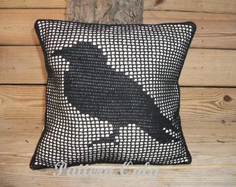 Crochet Black Bird Pillow Pattern