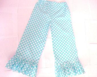 Ruffle pants Girls aqua white polka dot ruffle pants Toddler ruffle pants ruffle pants michael miller ocean ta dot fabric ruffle pants