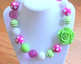 chunky bubblegum bead necklace hot pink lime green white green flower chunky bead necklace chunky bubblegum necklace bubble gum photo prop