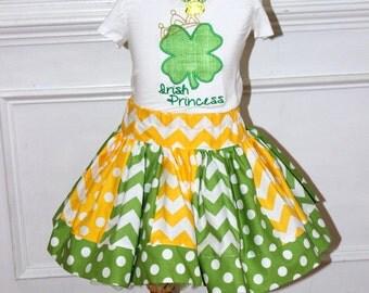 St Patricks Day outfit Girls St Patricks Day skirt set Shamrock outfit Saint Patricks Day chevron  polka dot clothing toddler baby girl