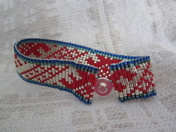 Friendship bracelet, SARMA, with Latvian design (small 6 1/4 inches)