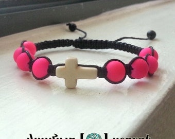 CROSS Shamballa Bracelet with COLORFUL Matte Beads for men and women, guy and girl, stackable and adjustable Lusnyak