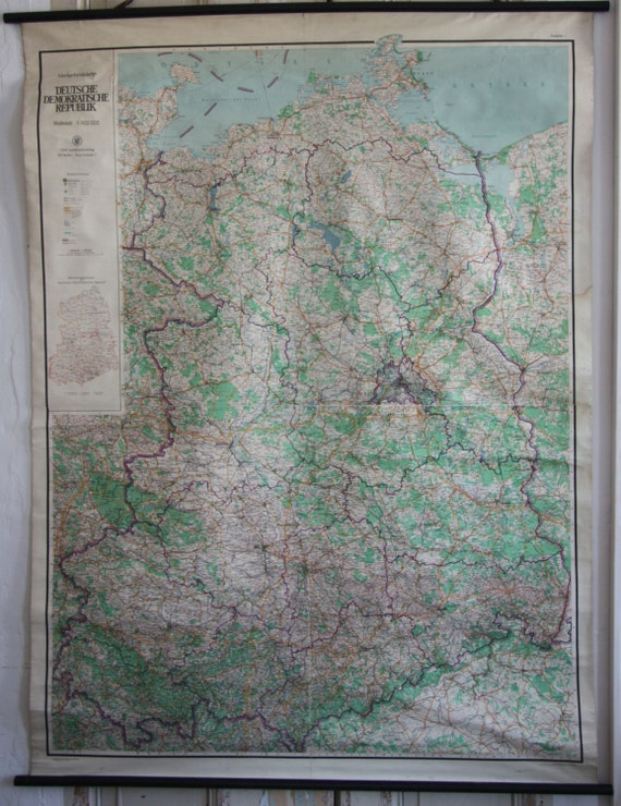 1960s East Germany Pull-down Map - Wall Chart