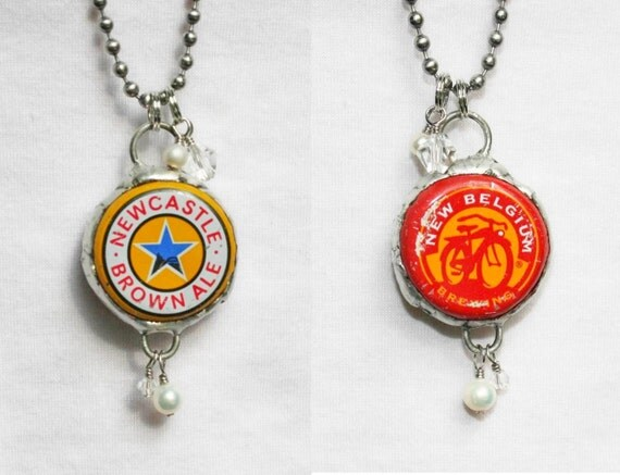 items similar to beer bottle cap necklace double sided