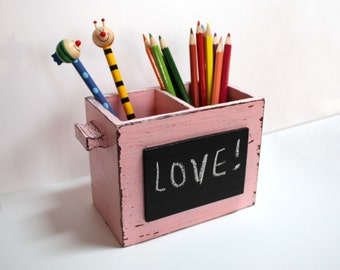 Pastel Pink - Brown Desk Organizer - Shabby Pencil Holder with  Chalkboard -Home Decor- Office Gift