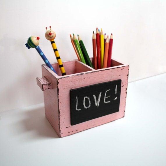 Items similar to pastel pink brown desk organizer - Pink desk organizer ...