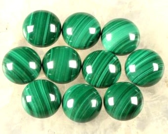 Lot Of 10 Piece AAA Quality Natural Malachite Cabochon 11x11MM Round Loose Gemstone