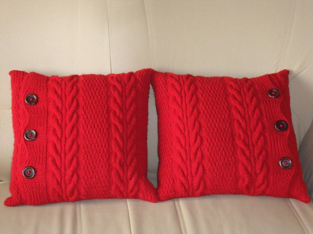 Red knit pillows couch throw pillows knit cushions red pillows