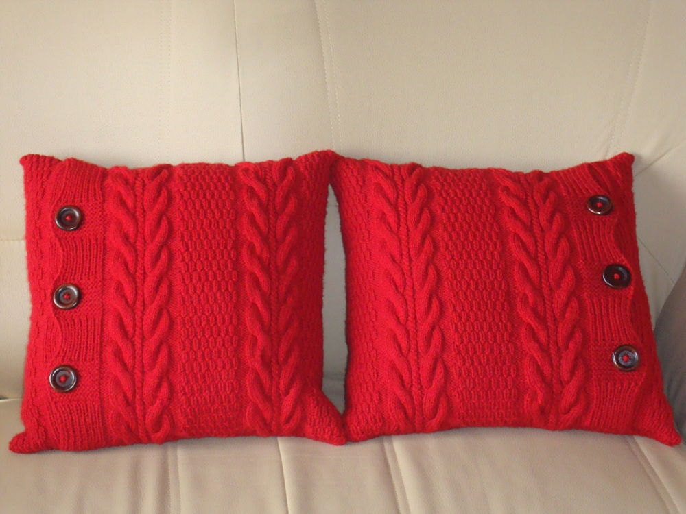 Throw Pillow Red : Red knit pillows couch throw pillows knit cushions red pillows