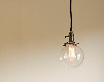 "Round Glass Vintage Industrial Pendant Light Fixture 6"" Glass Globe"