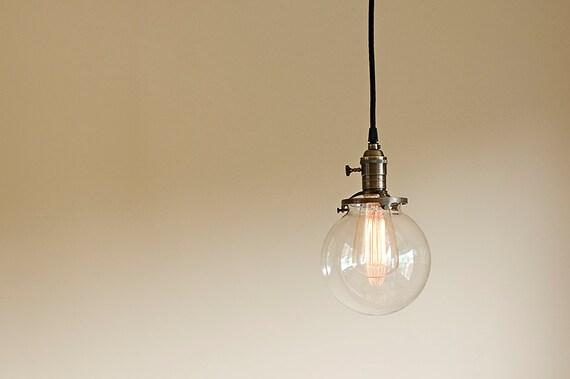 Round Glass Vintage Industrial Pendant Light Fixture 6