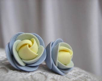 Polymer clay earrings - Blue yellow rose flower stud earrings