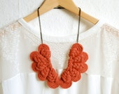 NECKLACE - Statement Necklace - Personalized Jewelry - Knitted necklace - Textile Jewelry - Acessory //BIG PEACOCK// in coral