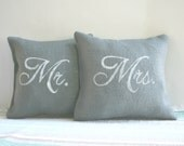 Mr and Mrs Pillows Gray Burlap Set - CariJoyDesigns