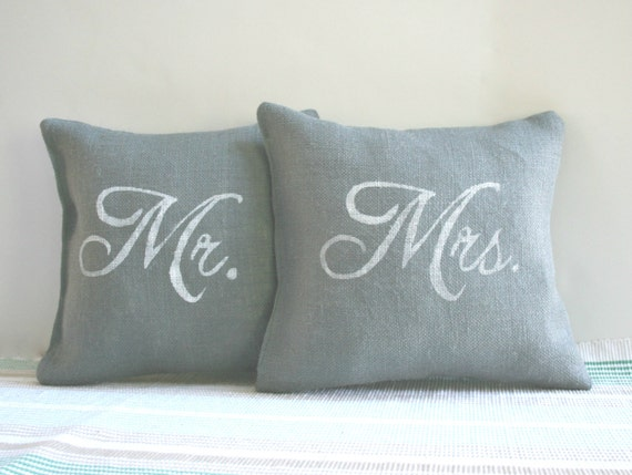 Mr And Mrs Pillows Gray Burlap Set By Carijoydesigns On Etsy