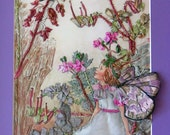 Storks Bill Fairy.  Silk Embroidery Wall Hanging.  Childrens Bedroom Fairy. Embroidered Art.  Silk Embroidered Art.  Silk Embroidery.