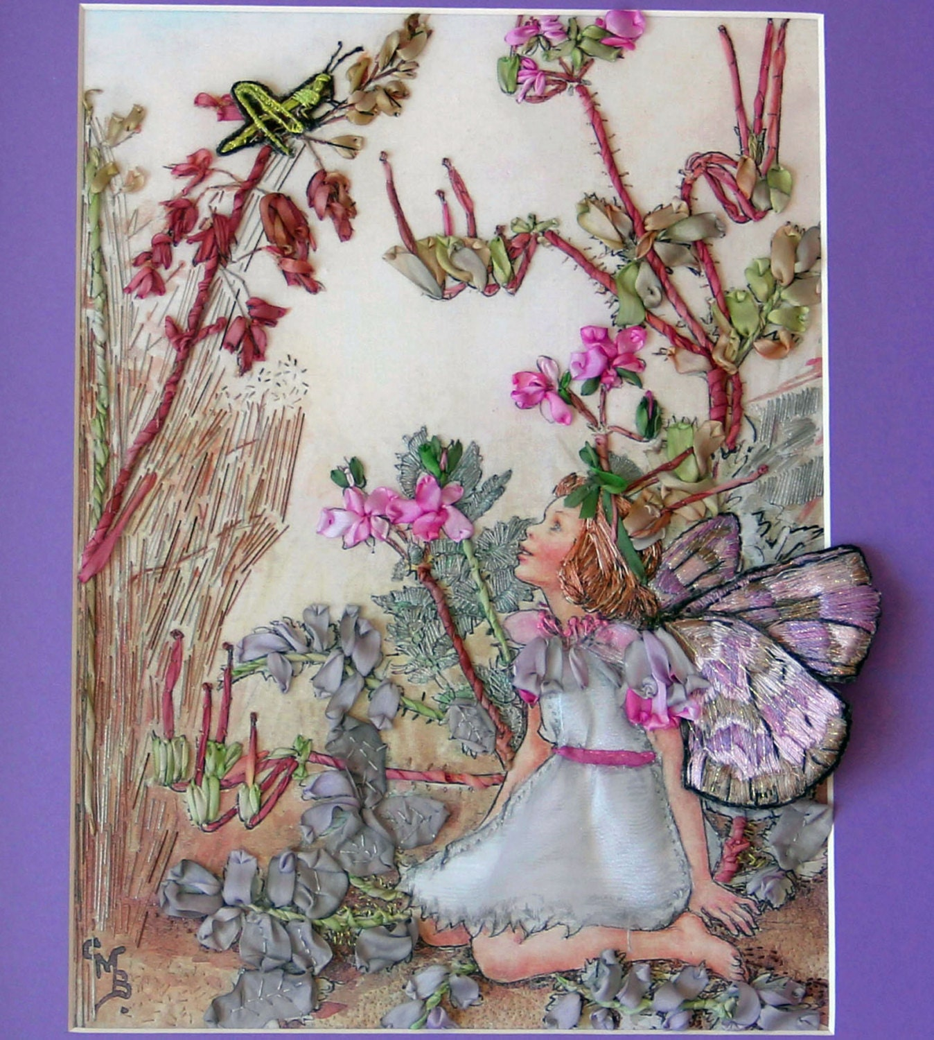 Storks bill fairy silk embroidery wall hanging childrens