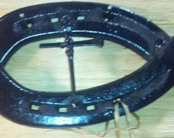 Repurposed Horseshoe Jesus Fish - Ichthys - Christian Fish