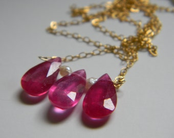 SALE. necklace. pink ruby. seed pearl.
